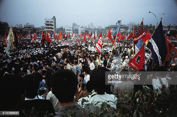 Hundreds of thousands parade in demonstrations against Japan's alliance with the United States here October 21st Demonstrators turned parts of the...