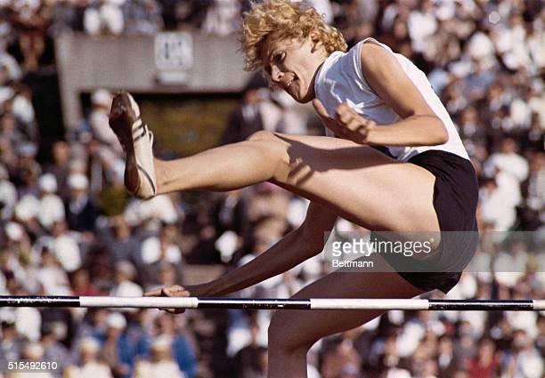 Iolanda Balas of Romania winning the Olympic high jump