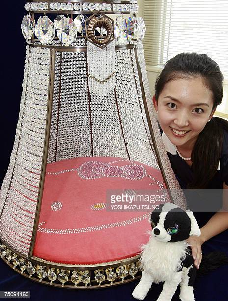 Japan maker Sanrio's employee Fumina Takada displays a doghouse designed with a Hello Kitty and decorated with 7600 Swarovski crystals at the...