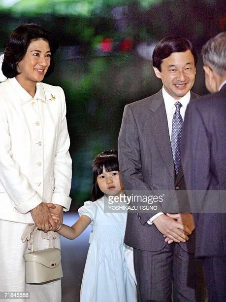 Japanese Crown Prince Naruhito Crown Princess Masako and their daughter Princess Aiko arrive at the Aiiku Hospital in Tokyo as they visit Princess...