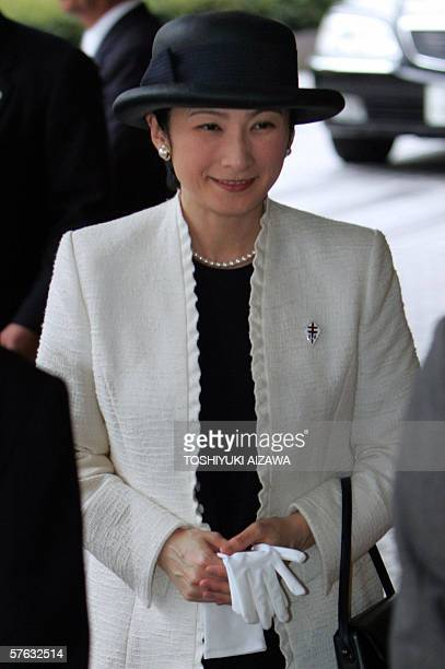Japanese Princess Kiko wife of Emperor Akihito's second son Prince Akishino arrives at an awarding ceremony of Japan AntiTuberculosis Association in...