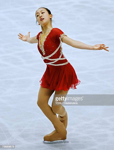 Japanese skater Mao Asada performs during the free skating of women's event in the World Figure Skating Championships in Tokyo 24 March 2007 Asada...
