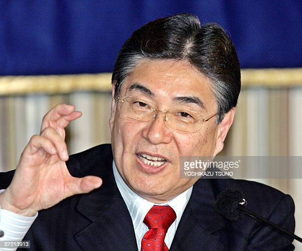 Japanese sports goods maker Mizuno president Masato Mizuno speaks at a press confrernce in Tokyo 30 March 2006 'There has been no event as the World...