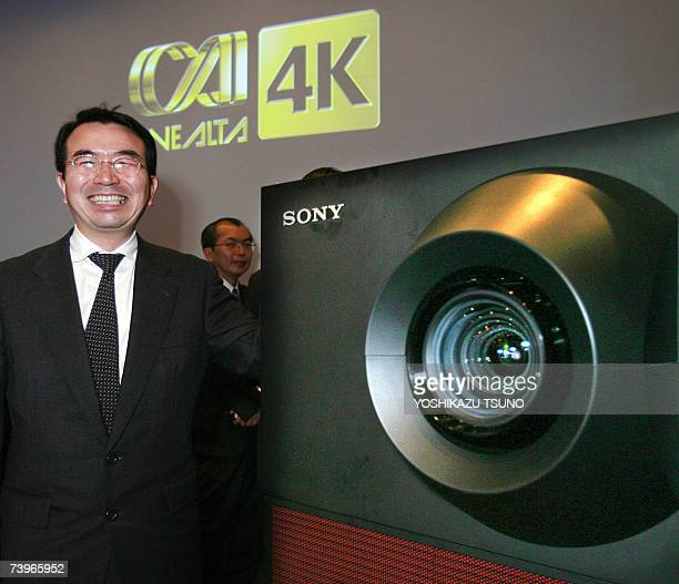Japan's electronics giant Sony's Senior General Manager shoichi ioka of display division displays the new 4K digital cinema projector CineAlta 4K...