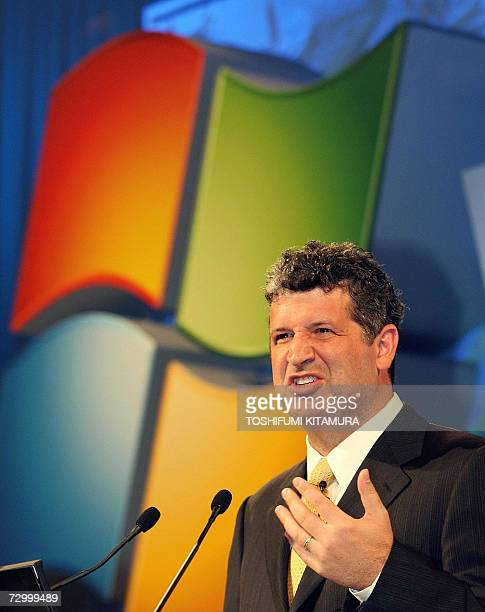 Microsoft corporation corporate vice President and Japan's Microsoft KK president Darren Huston introduces the company's new operation system...