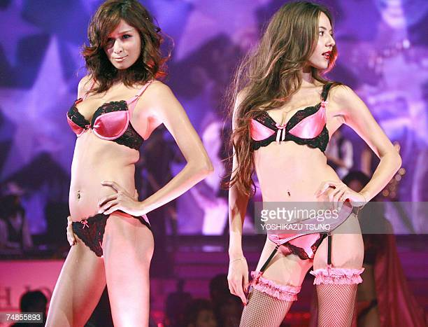 Models display the latest collection 'Very Lingerie Week' of Japanese lingerie brand Peach John an affiliate brand of Japan's lingerie giant Wacoal...