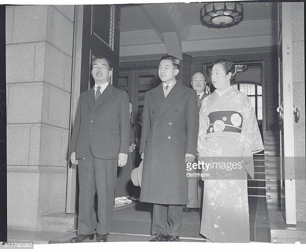 One of the rare photographs of Japanese Crown Prince Akihito with his parents Emperor Hirohito and Empress Nagako The 19yearold heir to the throne...