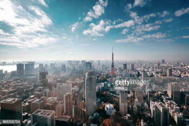 tokyo, japan skyline - skyline stock pictures, royalty-free photos & images