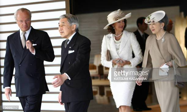 Swedish King Carl XVI Gustaf and Queen Silvia are led by Japanese Emperor Akihito and Empress Michiko heading for the welcome ceremony at the...