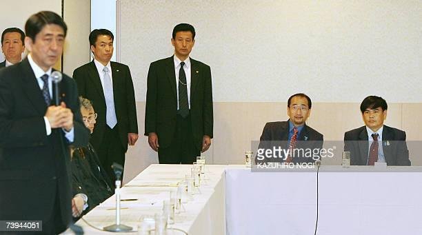 Thailand's Banjong Panjoy a relative of Anocha Panjoy who was kidnapped in 1978 by North Korea attends a luncheon meeting with relatives of Japanese...