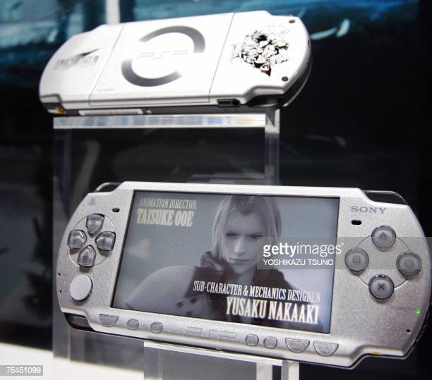 The new model of the company's portable video game console PlayStation Portable is displayed at the PlayStation Premier event in Tokyo 17 July 2007...