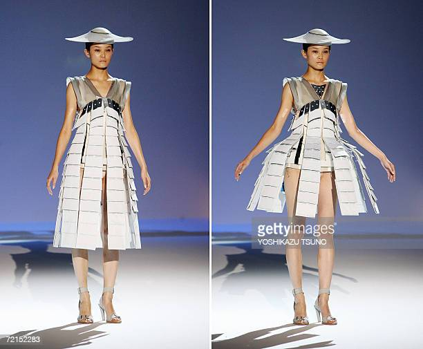 This combo picture a unique outfit the skirt is opened automatically designed by Britishbased Turkish Cypriot designer Hussein Chalayan during his...