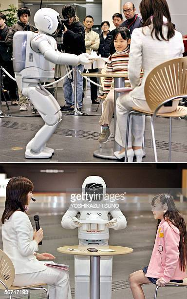 This combo picture shows Japanese auto giant Honda Motor's humanoid robot Asimo which can run at a speed of 6 kph and also in a circular pattern...