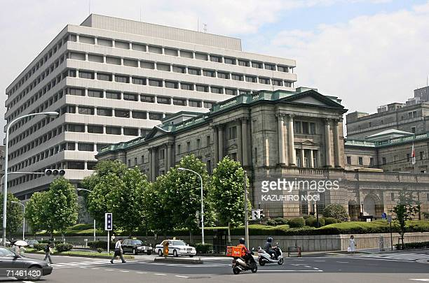 This photo shows the Bank of Japan building in Tokyo 14 July 2006 Japanese share prices fell sharply in the morning trading before its central bank...