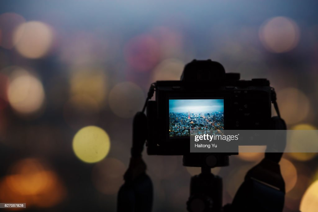 Tokyo, Japan. Tokyo tower as seen from a camera screen with bokeh background : Stock Photo