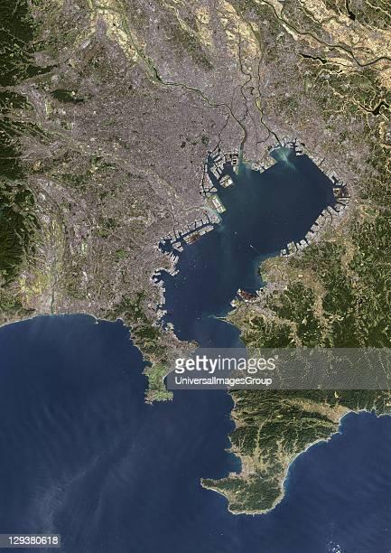 Tokyo Japan True colour satellite image of Tokyo capital city of Japan Composite of 2 images taken on 24 September 2001 8 November 2000 using LANDSAT...