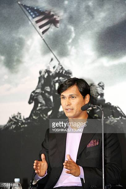 US actor Adam Beach speaks for his latest movie 'Flags of Our Fathers' directed by Clint Eastwood during a press conference in Tokyo 20 October 2006...
