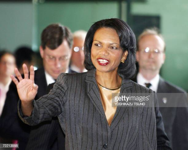 US Secretary of State Condoleezza Rice reacts to the press upon her arrival at Japanese Prime Minister Shinzo Abe's official residence in Tokyo ahead...
