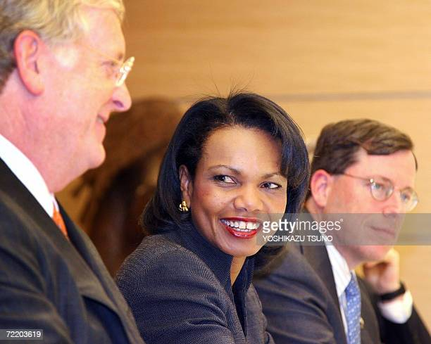 US Secretary of State Condoleezza Rice shares a smile with US Ambassador to Japan Thomas Schieffer as they meet with Japanese Chief Cabinet secretary...