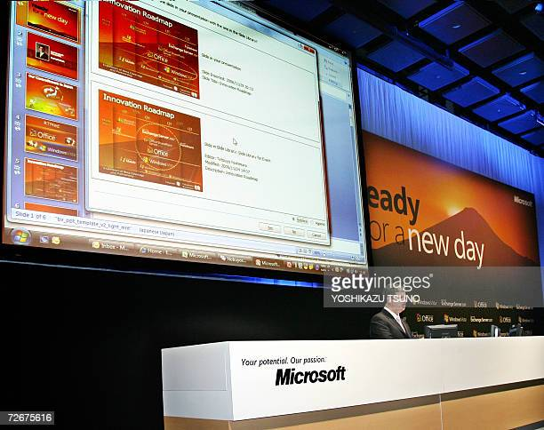 US software giant Microsoft Japanese subsidiary President Darren Huston demonstrates the new operating system Windows Vista business version at a...