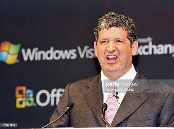 US software giant Microsoft Japanese subsidiary President Darren Huston introduces the new operating system Windows Vista business version at a...