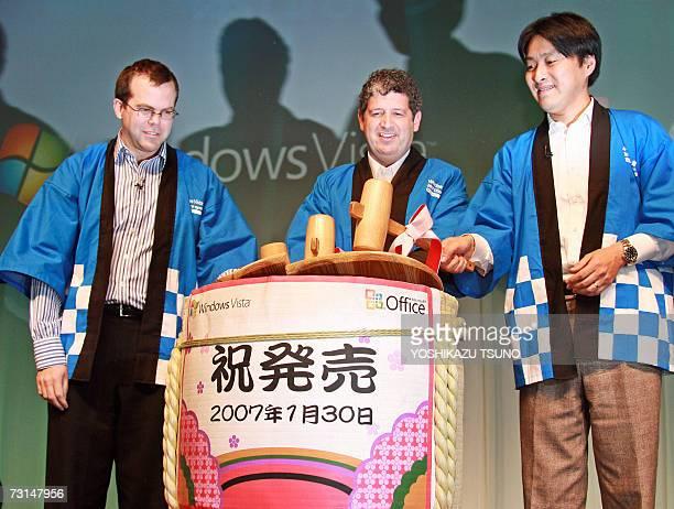 US software giant Microsoft Windows headquarters Director Jay Jamison Japanese subsidiary President Darren Huston and Director Nobuyoshi Yokoi open a...