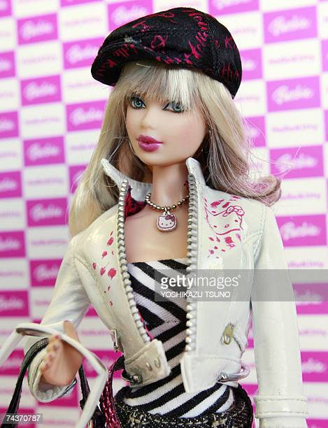 US toy giant Mattel and Japan's Sanrio unveil a Barbie doll 'Hello Kitty Barbie' wearing Hello Kitty character jacket cap bag and accesories at...