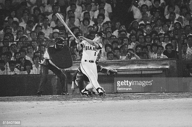 Japan's home run king Sadaharu Oh of the Yomiuri Giants belts his 800th career homer in the sixth inning of a game against Taiyo Whales at Tokyo's...