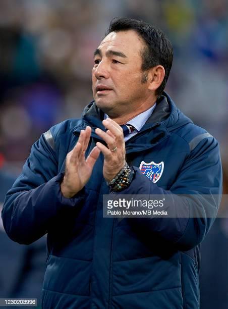 Tokyo manager, Kenta Hasegawa looks on during the J.League Meiji Yasuda J1 match between FC Tokyo and Vissel Kobe at Ajinomoto Stadium on December...
