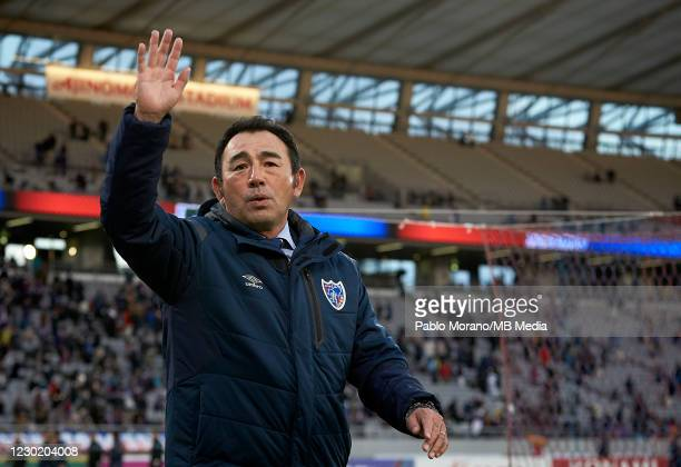 Tokyo manager, Kenta Hasegawa wave the hands to the fans at the end of the J.League Meiji Yasuda J1 match between FC Tokyo and Vissel Kobe at...