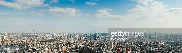 東京の巨大な高層ビル群のダウンタウンのパノラマに広がる街のランドマークビッグスカイ日本