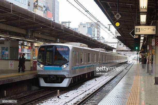 tokyo metro tozai line train in japan - suginami stock photos and pictures