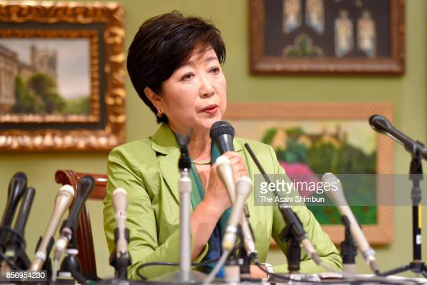 Tokyo Metropolitan Governor and Kibo no To leader Yuriko Koike speaks during a press conference following her meeting with Osaka Prefecture Governor...