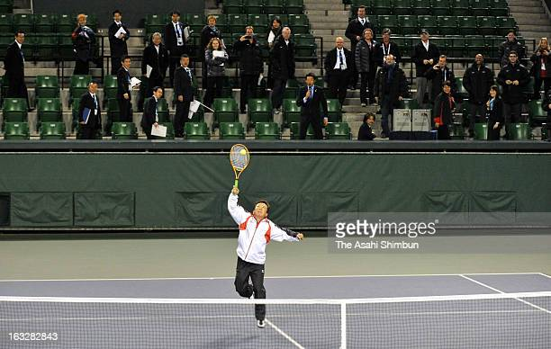 Tokyo Metropolitan governor Naoki Inose plays tennis with London Paralympic gold medalist Shingo Kunieda while the International Olympic Committee...