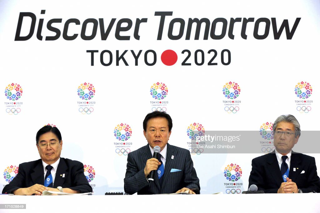 Tokyo Metropolitan governor Naoki Inose (C) speaks during a press conference after International Olympic Committee released the 2020 bid cities evaluation committee report at Tokyo Metropolitan Headquarters on June 25, 2013 in Tokyo, Japan.