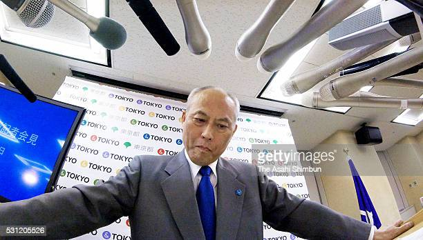 Tokyo Metropolitan Governor Yoichi Masuzoe speaks during a press conference at the Tokyo Metropolitan Government headquarters on May 13 2016 in Tokyo...