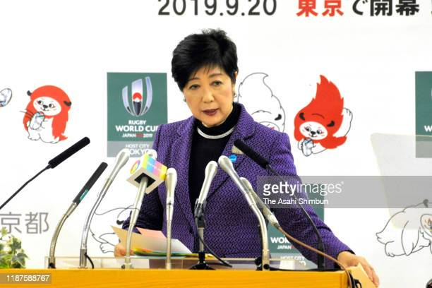 Tokyo Metropolitan Governor Yuriko Koike speaks during a press conference after the IOC Coordination Commission meeting to decide officially to move...