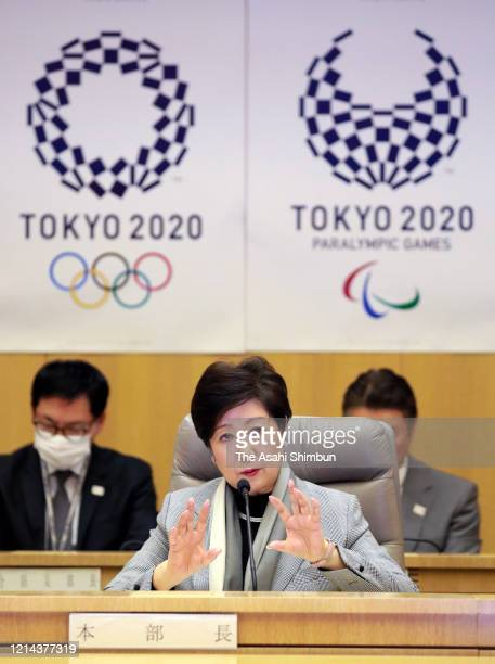 Tokyo Metropolitan Governor Yuriko Koike speaks during a press conference at the Tokyo Metropolitan Government headquarters on March 23 2020 in Tokyo...