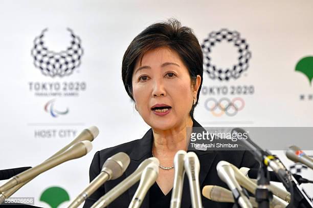 Tokyo Metropolitan governor Yuriko Koike speaks during a press conference at the Tokyo Metropolitan headquarters on August 31 2016 in Tokyo Japan...