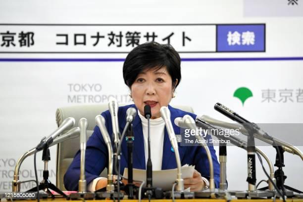 Tokyo Metropolitan Governor Yuriko Koike speaks during a press conference on the novel coronavirus at the Tokyo metropolitan headquarters on March 30...