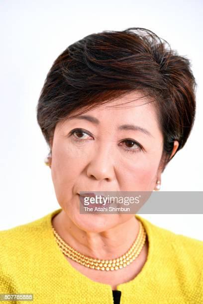 Tokyo Metropolitan Governor Yuriko Koike speaks during the Asahi Shimbun interview on July 4 2017 in Tokyo Japan