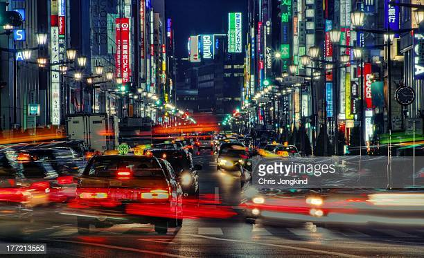 tokyo neon - ginza stock pictures, royalty-free photos & images