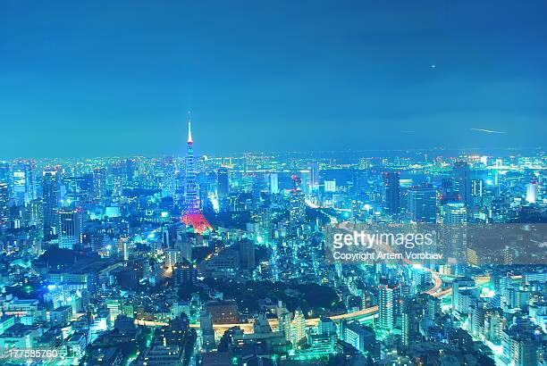 Tokyo night, the city in blue