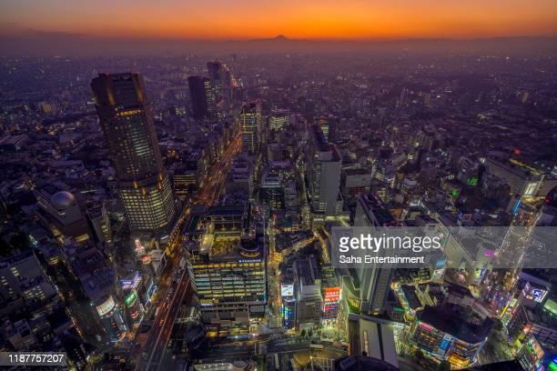 tokyo night view at dusk,shibuya-ku,tokyo,japan - saha entertainment stock pictures, royalty-free photos & images