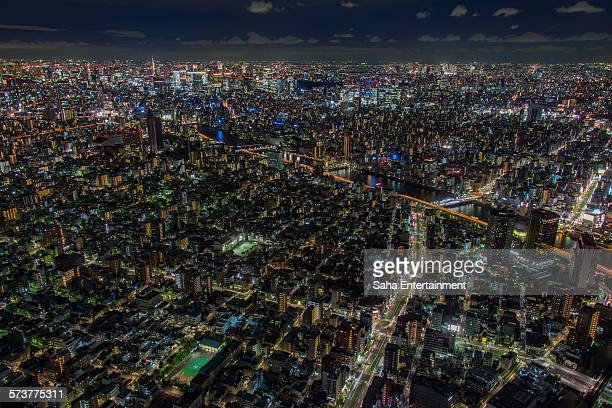 tokyo nightscape - saha entertainment stock pictures, royalty-free photos & images