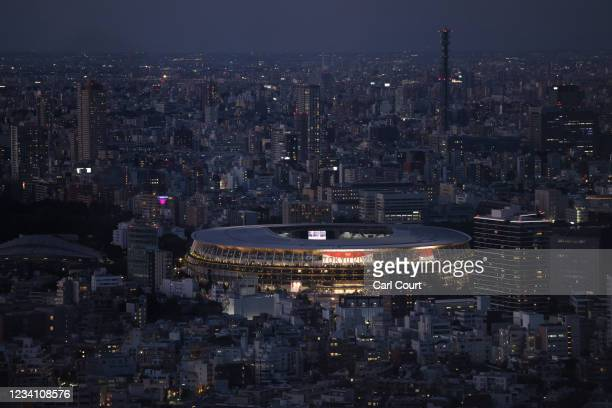 Tokyo Olympic Stadium is pictured from Shibuya Sky Deck on July 22, 2021 in Tokyo, Japan. Olympics opening ceremony director, Kentaro Kobayashi, has...