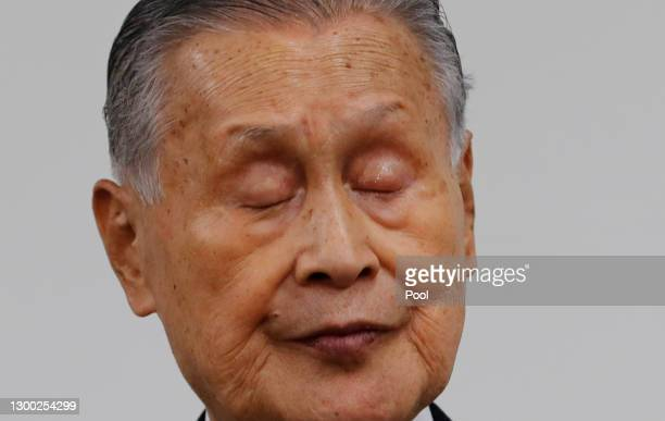 Tokyo Olympics Organizing Committee President Yoshiro Mori attends a press conference on February 4, 2021 in Tokyo, Japan. Former Prime Minister Mori...