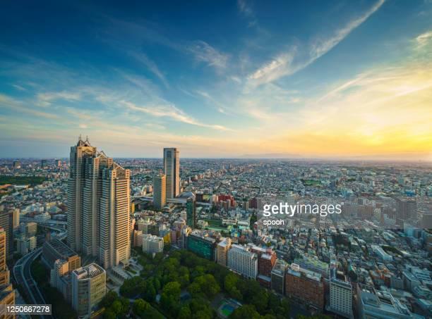 東京のパノラマビュー。 - 地方庁舎 ストックフォトと画像