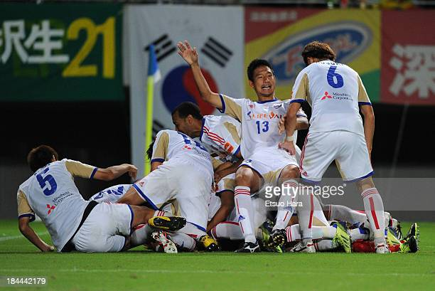 FC Tokyo players celebrates the win after penalty shootout during the 93rd Emperor's Cup third round match between JEF United Chiba and FC Tokyo at...