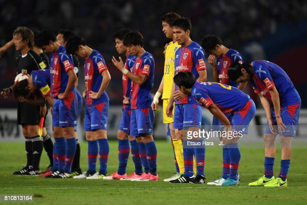 Tokyo players react after the 2-2 draw in the J.League J1 match between FC Tokyo and Kashima Antlers at Ajinomoto Stadium on July 8, 2017 in Chofu,...